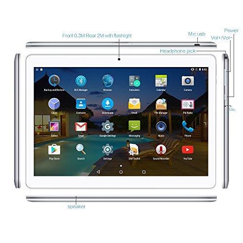 YUNTAB Tablet Pc 10.1 Zoll Tablet 3g- Android 5.1 Lollipop - Telefonieren - GPS- Navigation - Google play - 1GB RAM - 16GB - Dual kamera- battery 5000 mha - Bluetooth 4.0 (Silber) - 2