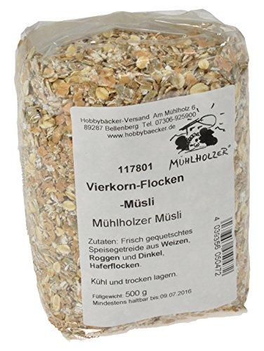 Hobbybäcker Vierkorn-Flocken-Müsli ► Hochwertige Müsli-Mischung mit 4 ausgewählten Getreidesorten & ohne Zucker, 500g