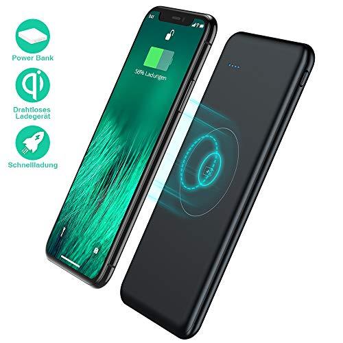TOVAOON Wireless Powerbank 10000mAh, Tragbares Externer Akku Pack, induktion Qi Power Bank,2 USB Ports Ladegerät, für iPhone X/XS/XR 8/8 Plus,iPad,Samsung Galaxy, Huawei und Smartphone(Schwarz)