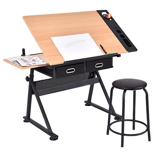 Tablero para Dibujo mesa inclinable con Taburete Cajón Almacenamiento