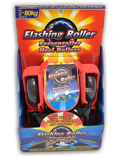 Schnäppchenladen24 Fersenroller 3-Front-LED Licht Schuhe Roller rot Rollschuhe zum umschnallen