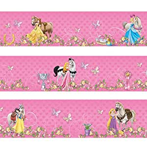 Grande frise murale Princesses Disney avec chevaux 20 cm x 2,5 mètres