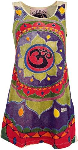 GURU-SHOP, Top con Espejo, Camisa Larga, Vestido Mini, Mandala Om/Beige, Algodón, Tamaño:M (38), Camisas Seguras