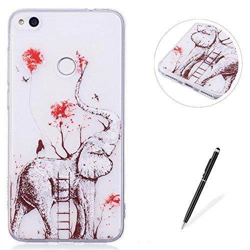 MAGQI For HUAWEI P8 Lite 2017 TPU Stoßstange Telefon Fall,[Neu Einhorn Flamingo Serie Kreativ Design] mit Transparent Weich Gel Schutz Schale Haut Abdeckung -Elefant (Terrarien, Glas-schale)