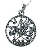Colgante Tetragramatón Calado y Envejecido. Incluye una Cadena de Plata de 40 cm. y un Estuche para Regalo. Joyeria en Plata de Ley 925 by Alylosilver