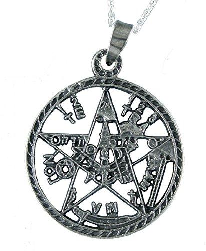 Alylosilver Collar Colgante Tetragramatón Amuleto de Plata para Hombre Mujer - Incluye Cadena de Plata de 40 cm. y Estuche para Regalo