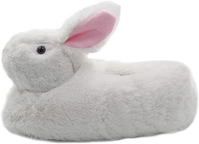 Millffy - Pantofole classiche a forma di coniglietto, per adulti, in peluche