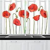 ZHANGhome Nature Red Poppies Cortinas de Cocina Cortinas de Ventana Niveles para café, baño, lavandería, Sala de Estar Dormitorio 26 X 39 Pulgadas 2 Piezas