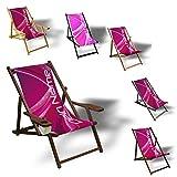 Printalio Wunschtext - Purple Abstract - Liegestuhl Bedruckt Balkon Garten Sonnenliege Relax Holz Terrasse | mit Armlehne, Dunkelbraun