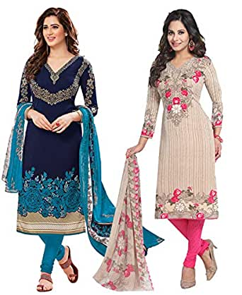 Ishin Combo of 2 Multicolor Synthetic Printed Women's Unstitched Salwar Suits dress material with Dupatta