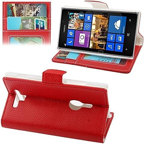 Wkae caso, textura de grava funda de piel con soporte & ranuras de tarjeta de Crédito para Nokia Lumia 925(color: rojo)