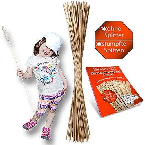 100 extra lange Lagerfeuer Spieße aus lebensmittelechtem Qualitäts-Bambus zum Rösten von Marshmallows, Bratwürsten uvm.   kindergerecht...