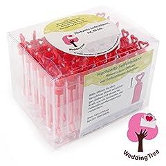 Idea Regalo - WeddingTree® Premium Set per bolle di sapone nel colore rosso - 48 pezzi con impugnatura a forma di cuore - Deliziose per matrimoni, battesimi, compleanni, nozze d'oro, fidanzamenti, San Valentino, come regalo per gli invitati o per una festa