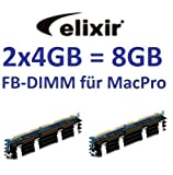 Elixir original 2 x 4GB = 8GB Kit 240 pin FB-DIMM DDR2-800 PC2-6400 128Mx4x36 double side (M2D4G72TU4ND9B-AC) für MacPro Systeme 1,1 2,1 3,1 (Baujahre 2006 bis 2008) Modelle