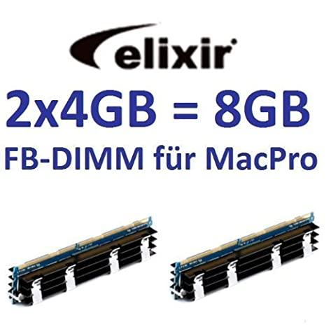 Elixir original 2 x 4GB = 8GB Kit 240 pin FB-DIMM DDR2-800 PC2-6400 128Mx4x36 double side (M2D4G72TU4ND9B-AC) für MacPro Systeme 1,1 2,1 3,1 (Baujahre 2006 bis 2008) (667 Fb Dimm Kit)