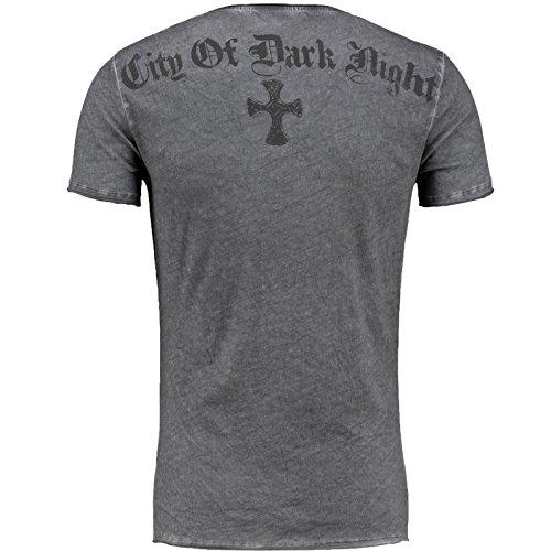Key Largo Herren T-Shirt Cooles Party Weiß / Anthrazit V-Neck Nieten Anthrazit