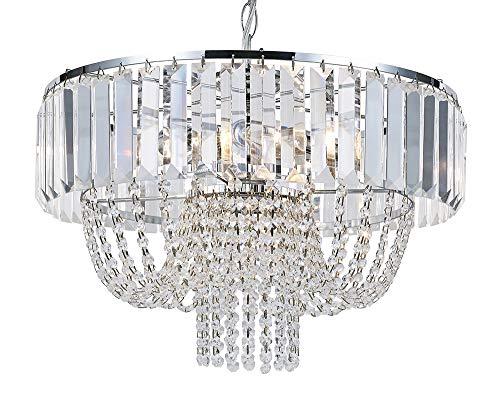 Klare Kristallglas Kronleuchter Deckenleuchte mit Hängependeln und Perlen von Happy Homewares