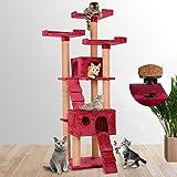Leopet – Árbol rascador para gatos con cuevas, escaleras y plataformas – color bordó