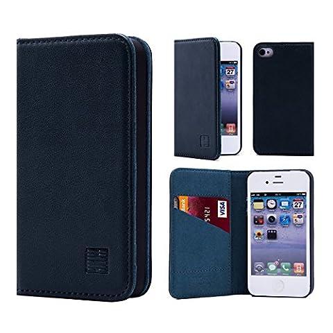 32nd Étui Portefeuille Design Classic en cuir véritable Apple iPhone 4 4S Housse avec fentes CB et Fermeture Magnétique - Vert