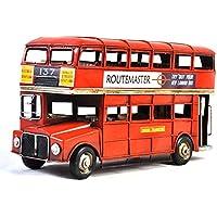 VJUKUB Antiguo autobús Doble Decker Modelo hojalata Hecho a Mano Retro Hierro Arte casa decoración decoración Decorativos arreglo fotografía Accesorios 32 * 10.5 * 18.5 cm