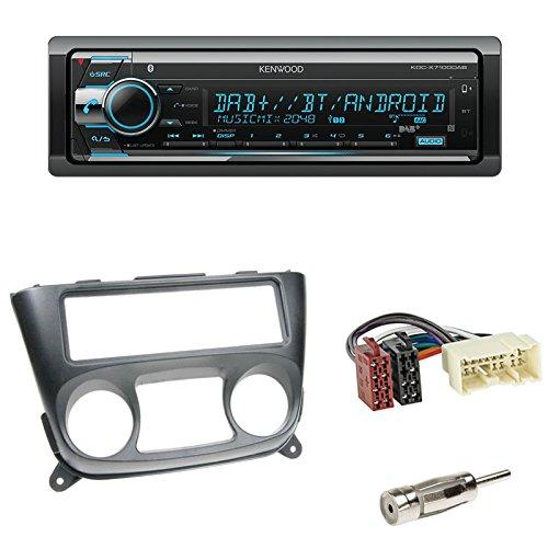 Radioeinbauset : Autoradio Kenwood KDC-X7100DAB - Digitalautoradio mit Bluetooth, USB-Port und CD + 1-DIN Radioblende Radio Blende schwarz + ISO-Adapter + Antennenadapter für Nissan Almera (N16) 03/2000 - 11/2006 2/3-türer - Blende Nissan Radio