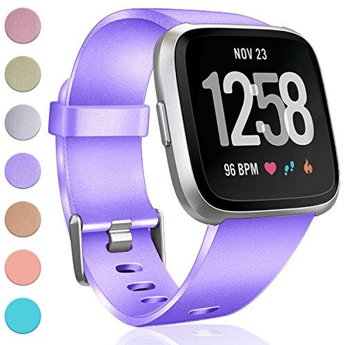 HUMENN Für Fitbit Versa Armband, Weiches TPU Sports Ersetzerband Verstellbares Zubehör Uhrenarmband für Fitbit Versa Smartwatch Groß Lavendel