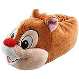 Tierhausschuhe Plüsch Hausschuhe Disney Chip Chap Pantoffel Kids Streifenhörnchen Kinder Puschen Original Schlappen, TH-DABHOERN, Modell hellbraun, Größe 33/35