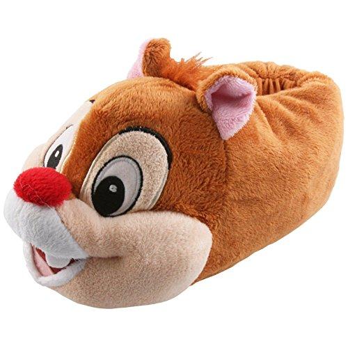 Tierhausschuhe Plüsch Hausschuhe Disney Chip Chap Pantoffel Kids Streifenhörnchen Kinder Puschen Original Schlappen, TH-DABHOERN Hellbraun
