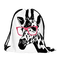 Lumanuby 1x Giraffe wearing glasses sports bag for travel sports or shopping hipster drawstring bag made of durable Oxford fabric backpack for boys and girls, drawstring bag series size 32 x 39 cm