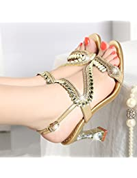 SUHANG Sandalias Zapatos De Mujer T-Agua De Perforación Sandalias De Tacón  Alto De Boca b0eed18befc9