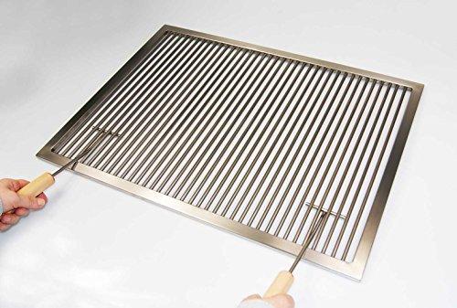 Edelstahl Grillrost 60,5 x 44,5 cm + Griffe !! nur 9 mm lichter Stababstand !! für WEBER SPIRIT E 310 320 330 (Grill-licht-magnetische)