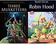Three Musketeers (Pegasus Abridged Classics Seri) + Robin Hood (Pegasus Abridged Classics Seri) (Set of 2 Book