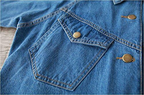 Femme Revers Veste En College Vent Slim Courts Denim Manteaux Bleu clair