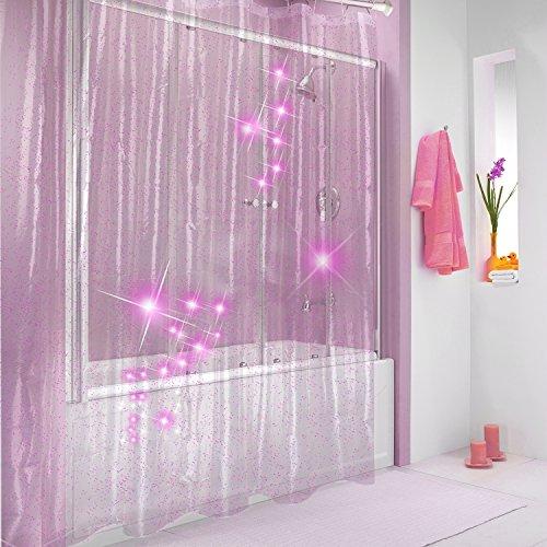 Duschvorhang Rosa (Duschvorhang Wasserdicht Eva,Belpink Duschvorhang Antibakteriell, Isoliert, Atmungsaktiv mit 12 Duschvorhanghaken aus Edelstahl von Hotels,Startseite (Rosa))