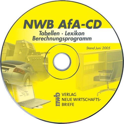NWB AfA-CD / CD-ROM für Windows 98/NT 4.0/2000/XP. Tabellen. Lexikon. Berechnungsprogramm