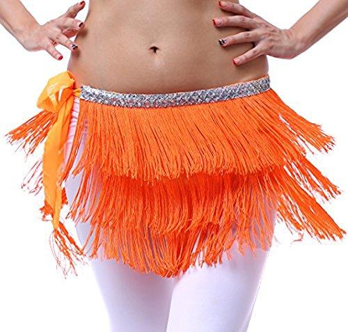 tanz und Latin Dance mit Fransen und Pailletten für Damen (Bauchtänzerin Kostüm Billig)