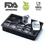 Clytius Black 15-Cubes Ice Tray, Premium Quality Black Flexible Silicone Large Ice Cube