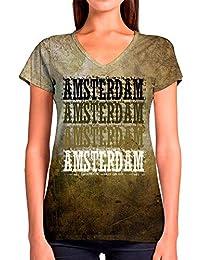 0af0228e2167c Idakoos Amsterdam Retro Vintage 3D - Camiseta con Cuello En V Mujer De  Poliéster