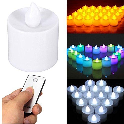 Bazaar 24pcs a pile senza fiamma LED a lume di candela con telecomando per la festa nuziale