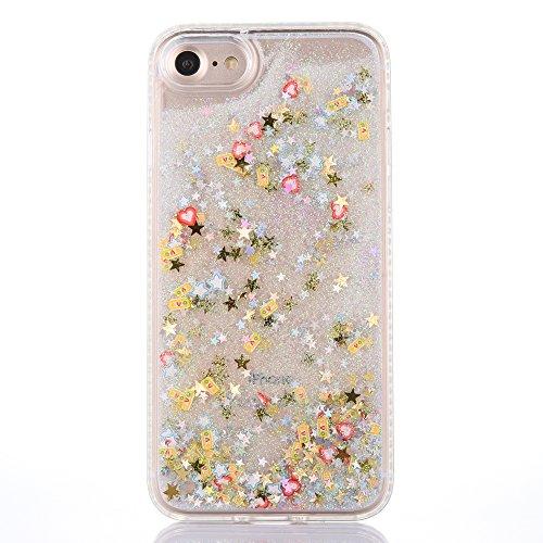 iPhone 7 4.7 Hülle, Voguecase Silikon Schutzhülle / Case / Cover / Hülle / TPU Gel Skin für Apple iPhone 7 4.7(Perlen Treibsand-Hustle Baby-Pink) + Gratis Universal Eingabestift Frucht-Treibsand - Süßigkeiten Silber
