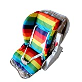 Baby Seat Liner by Gugutogo Stroller Thicken Cotton Mat Baby Learn Training Seat Bath Dining Cushion Cute Waterproof Stripe Seat Pad rainbow colour Size73*33cm