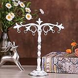 Eazyhurry in Lega di Zinco America Pastorale Stile Collana Orecchini Gioielli cremagliera Titolare Tree Pattern Metal Jewelry Organizer White
