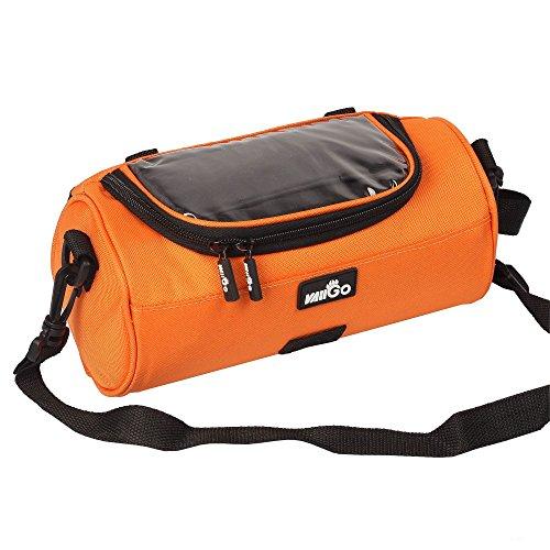 vaiigo Wasserdicht Multifunktions-Große Kapazität Fahrrad Lenkertasche, können Touch Screen Bedienung transparent PVC Pouch, geeignet für Radfahren, Mountain Line, Training etc.. Orange