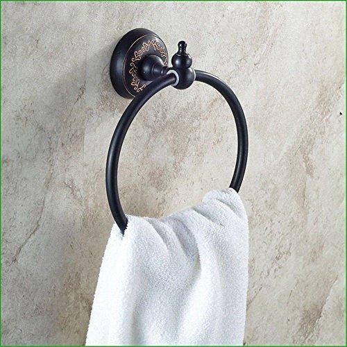 Yomiokla accessori per il bagno - cucina, servizi igienici, balcone e anello porta asciugamani in metallo antiquariato in ottone nero base floreale montato a parete