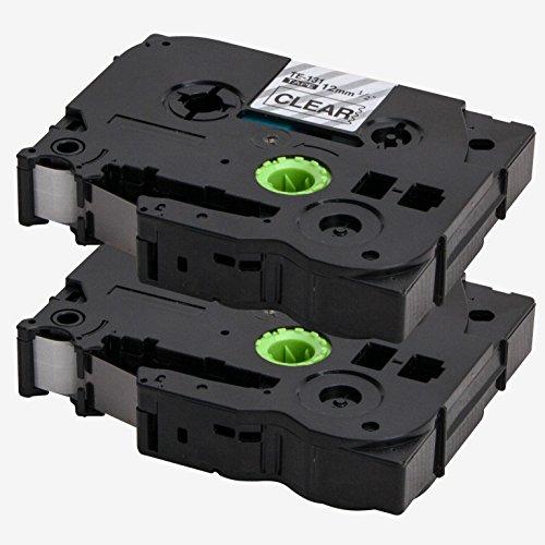 2x Label Tape / Nastro Laminato per BROTHER P-Touch TZe 131 / TZ 131 | nero sur transparente / 12mm x 8m | compatibile per Brother P-Touch