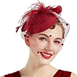 Coucoland Feder Fascinators Hut Damen Blumen Mesh Elegant Hochzeit Fascinator Haarreif Cocktail Tee Party Accessoires (Weinrot)