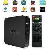 YUNTAB MX4 TV Box 4K TV Box Android 4.4 Quad Core 1.5GHZ Rockchip 3229 multimedia Streaming H.265 8GB Flash 1GB DDR3 Wifi RJ45 Ethernet Bluetooth HDMI 2.0 4Kx2K Tv Box KODI XBMC Netflix Youtube