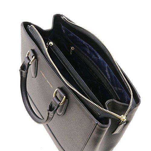 Tuscany Leather TL Bag Borsa a mano in pelle Saffiano Rosso Nero
