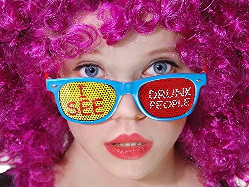 Partybrille verschiedene Motive - für Damen und Herren - Kostüm Fasching Karneval Mottoparty Sonnenbrille Party Gadget lustig accessoires Partydeko lustige Bier Saufen Augen led Brille - Drunk people