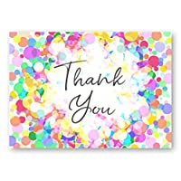 12 x Thank You Cards - Colourful Spotty Design - A6 Postcard Style with Envelopes